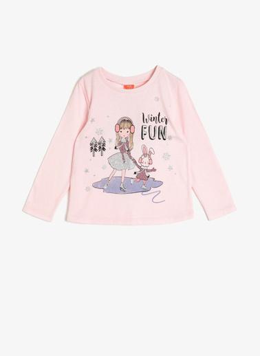 Koton Kids Sim Detaylı T-Shirt Pembe
